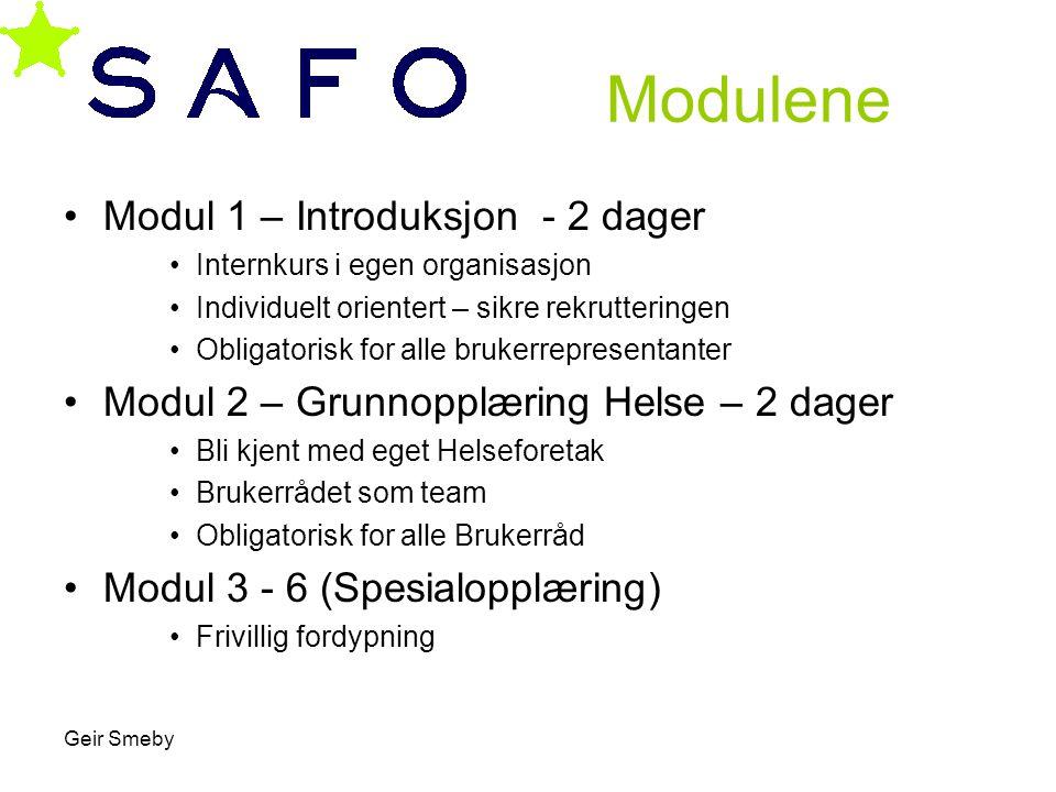 Geir Smeby Modulene •Modul 1 – Introduksjon - 2 dager •Internkurs i egen organisasjon •Individuelt orientert – sikre rekrutteringen •Obligatorisk for