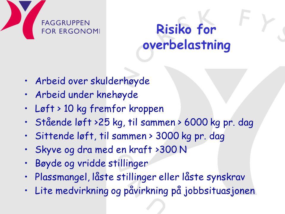 Risiko for overbelastning •Arbeid over skulderhøyde •Arbeid under knehøyde •Løft > 10 kg fremfor kroppen •Stående løft >25 kg, til sammen > 6000 kg pr.