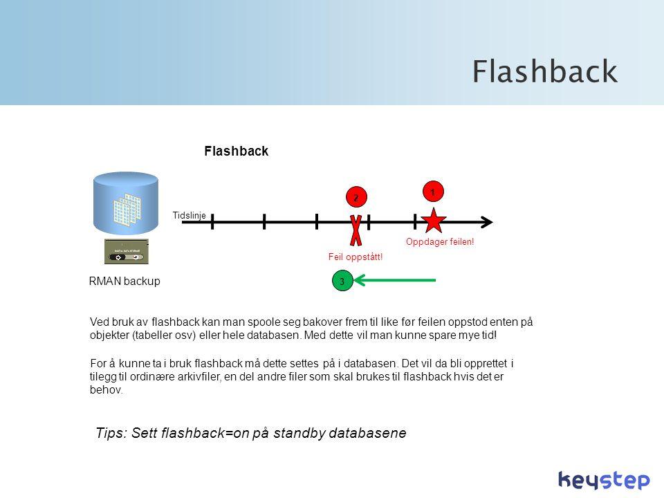 Flashback Tidslinje RMAN backup Flashback Feil oppstått.