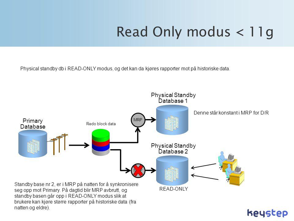 Read Only modus < 11g Physical standby db i READ-ONLY modus, og det kan da kjøres rapporter mot på historiske data.