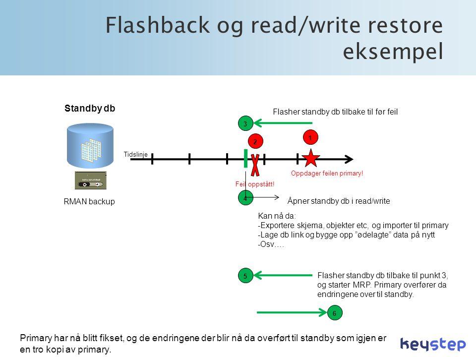 Flashback og read/write restore eksempel Tidslinje RMAN backup Standby db Feil oppstått.
