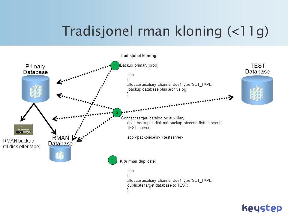 Tradisjonel rman kloning (<11g) TEST Database Primary Database RMAN backup (til disk eller tape) RMAN Database Tradisjonel kloning: Backup primary(prod) run { allocate auxiliary channel dev1 type SBT_TAPE ; backup database plus archivelog; } Connect target, catalog og auxilliary (hvis backup til disk må backup-piecene flyttes over til TEST server) scp Kjør rman duplicate: run { allocate auxiliary channel dev1 type SBT_TAPE ; duplicate target database to TEST; } 3 2 1