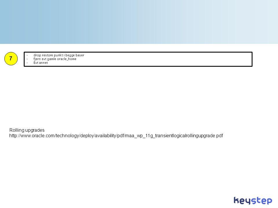 Rolling upgrades http://www.oracle.com/technology/deploy/availability/pdf/maa_wp_11g_transientlogicalrollingupgrade.pdf 7 -drop restore punkt i begge baser -fjern evt gamle oracle_home -Evt annet