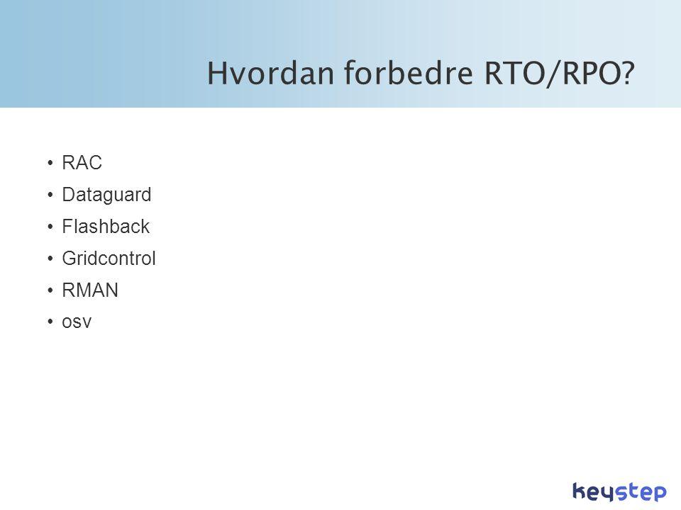 Hvordan forbedre RTO/RPO? •RAC •Dataguard •Flashback •Gridcontrol •RMAN •osv