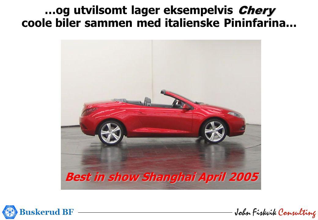 Buskerud BF Chery …og utvilsomt lager eksempelvis Chery coole biler sammen med italienske Pininfarina...