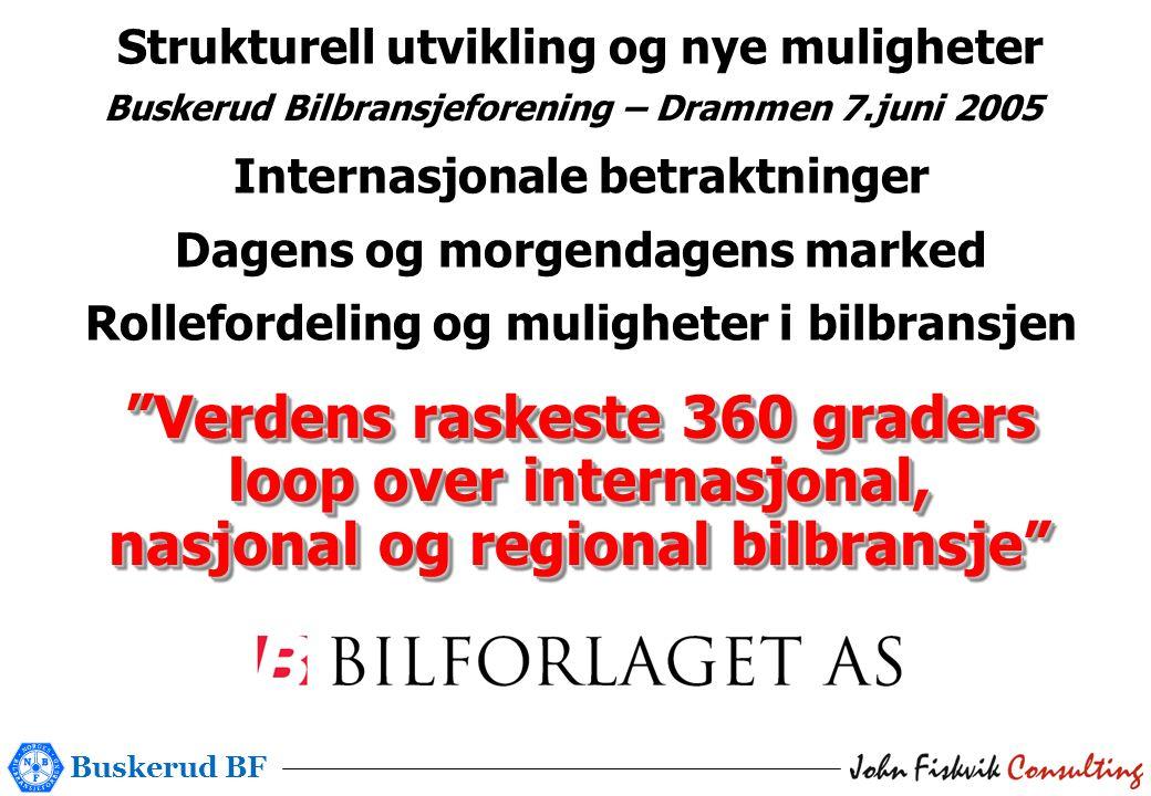 Buskerud BF Buskerud Bilbransjeforening – Drammen 7.juni 2005 Strukturell utvikling og nye muligheter Internasjonale betraktninger Dagens og morgendagens marked Rollefordeling og muligheter i bilbransjen Verdens raskeste 360 graders loop over internasjonal, nasjonal og regional bilbransje