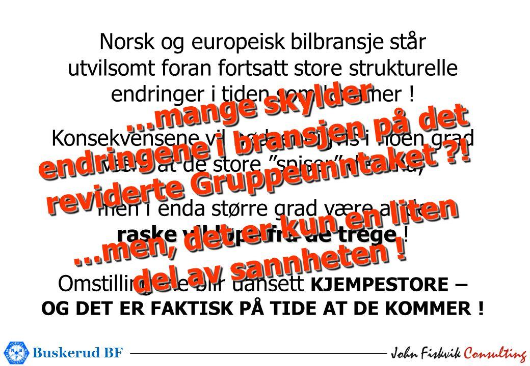 Buskerud BF Norsk og europeisk bilbransje står utvilsomt foran fortsatt store strukturelle endringer i tiden som kommer .
