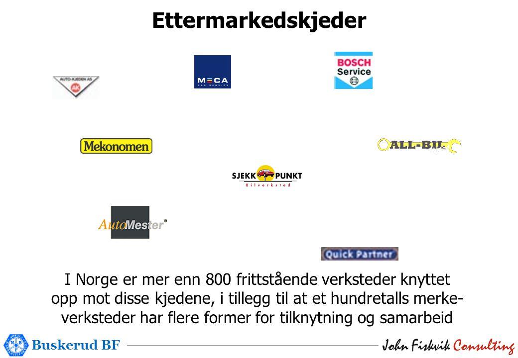 Buskerud BF Ettermarkedskjeder I Norge er mer enn 800 frittstående verksteder knyttet opp mot disse kjedene, i tillegg til at et hundretalls merke- verksteder har flere former for tilknytning og samarbeid
