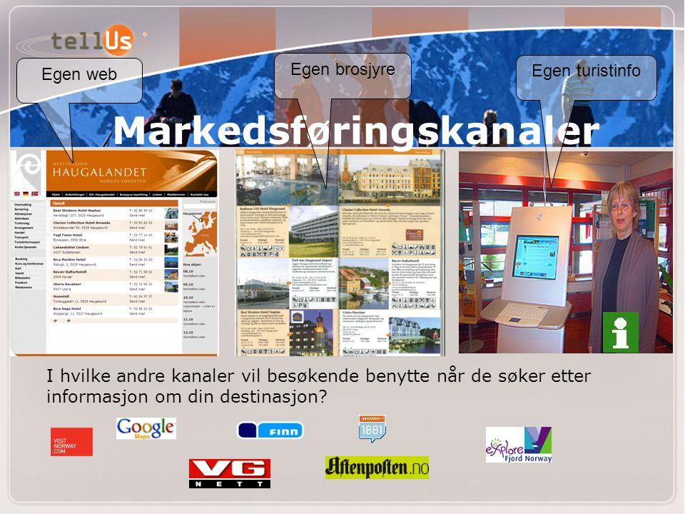 Markedsføringskanaler I hvilke andre kanaler vil besøkende benytte når de søker etter informasjon om din destinasjon? Egen web Egen brosjyre Egen turi