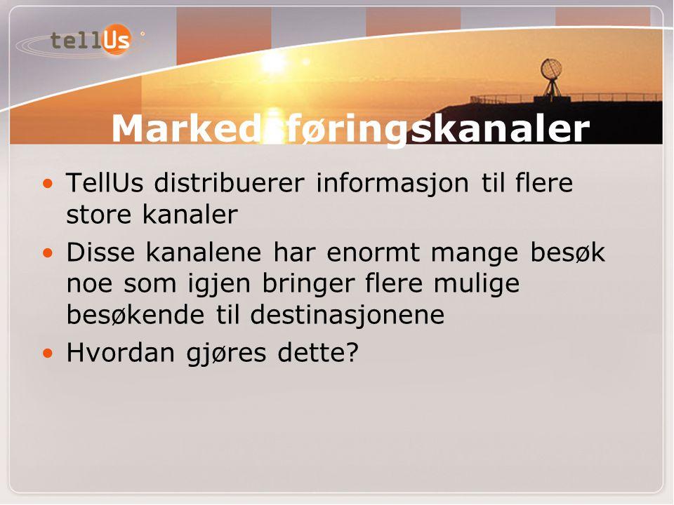•TellUs distribuerer informasjon til flere store kanaler •Disse kanalene har enormt mange besøk noe som igjen bringer flere mulige besøkende til destinasjonene •Hvordan gjøres dette.