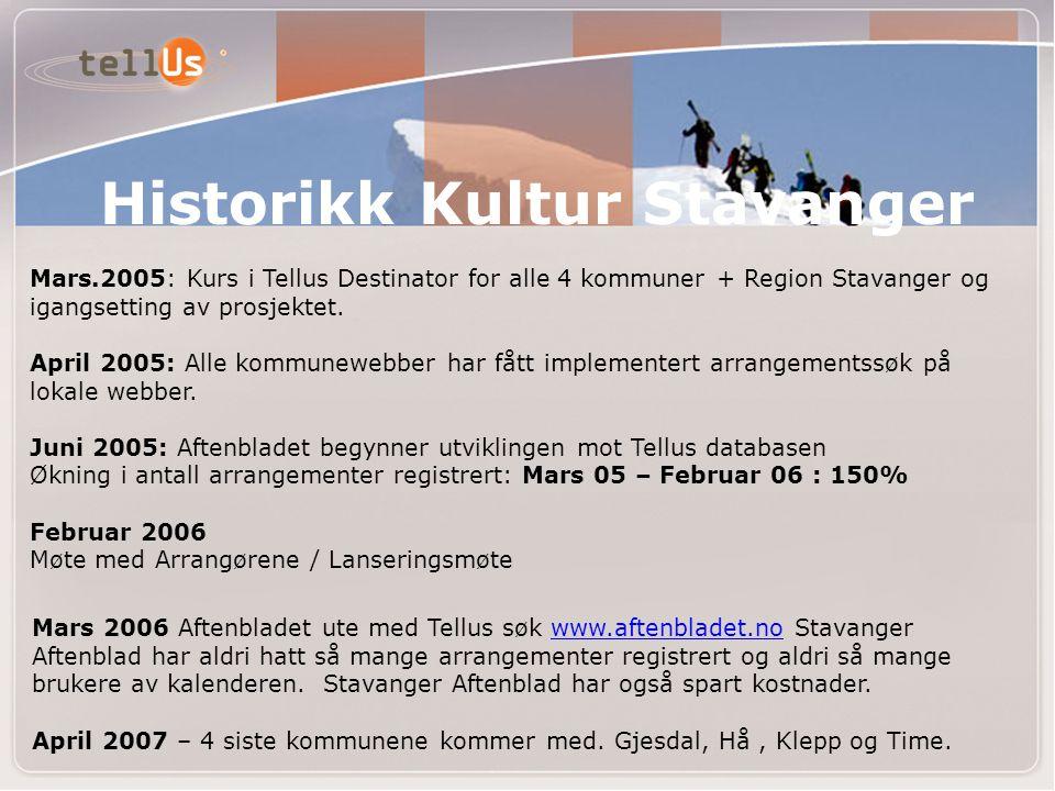 Historikk Kultur Stavanger Mars.2005: Kurs i Tellus Destinator for alle 4 kommuner + Region Stavanger og igangsetting av prosjektet. April 2005: Alle