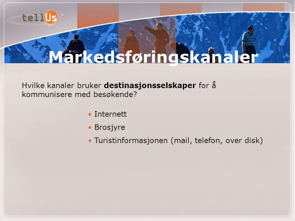 Markedsføringskanaler Hvilke kanaler bruker destinasjonsselskaper for å kommunisere med besøkende? • Internett • Brosjyre • Turistinformasjonen (mail,