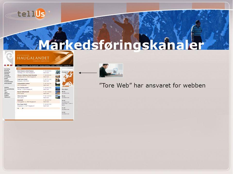 """""""Tore Web"""" har ansvaret for webben Markedsføringskanaler"""
