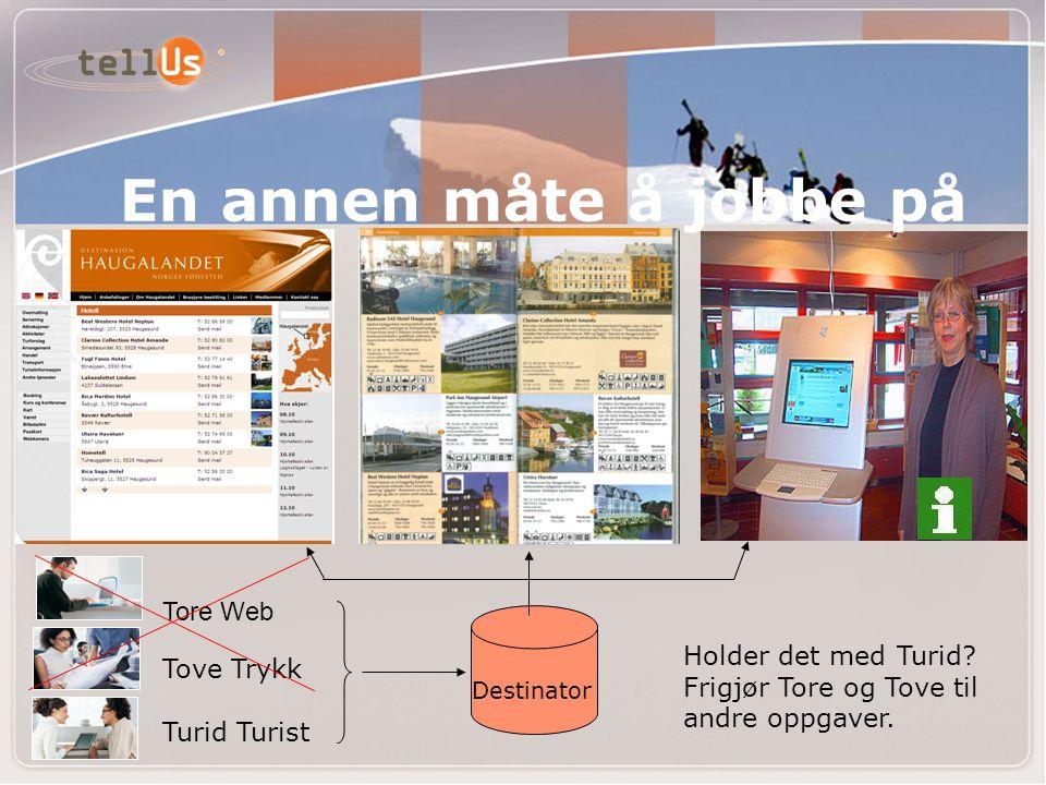 Tove Trykk Tore Web Turid Turist En annen måte å jobbe på Holder det med Turid.