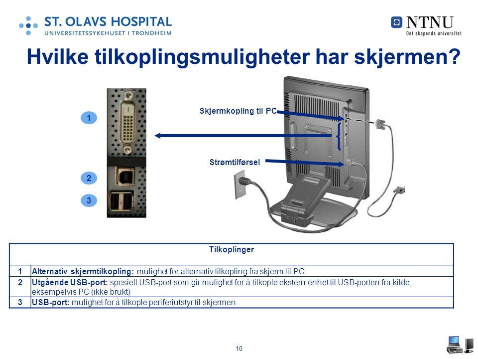 10 Hvilke tilkoplingsmuligheter har skjermen? Skjermkopling til PC Strømtilførsel 1 3 2 Tilkoplinger 1Alternativ skjermtilkopling: mulighet for altern