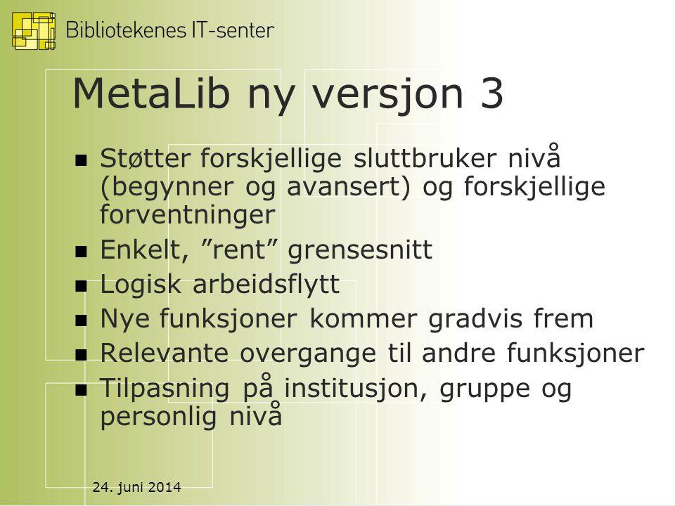 """24. juni 2014 MetaLib ny versjon 3  Støtter forskjellige sluttbruker nivå (begynner og avansert) og forskjellige forventninger  Enkelt, """"rent"""" grens"""