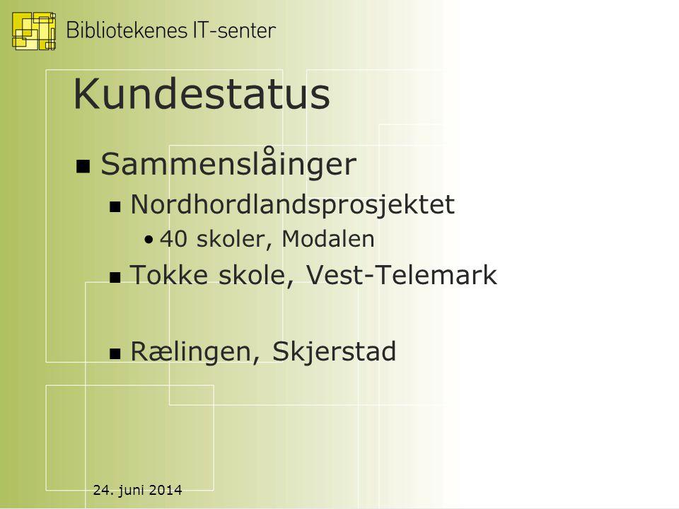 24. juni 2014 Kundestatus  Sammenslåinger  Nordhordlandsprosjektet •40 skoler, Modalen  Tokke skole, Vest-Telemark  Rælingen, Skjerstad