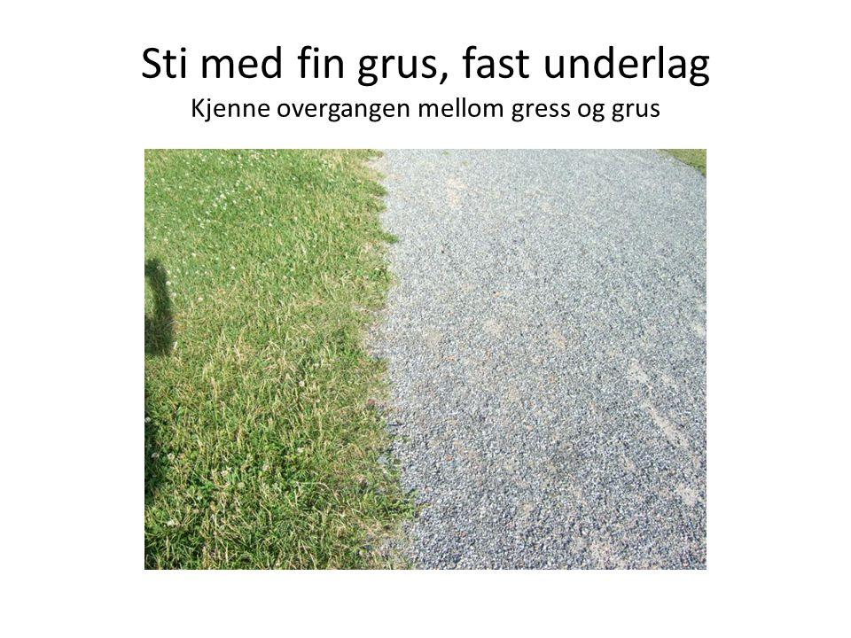 Sti med fin grus, fast underlag Kjenne overgangen mellom gress og grus