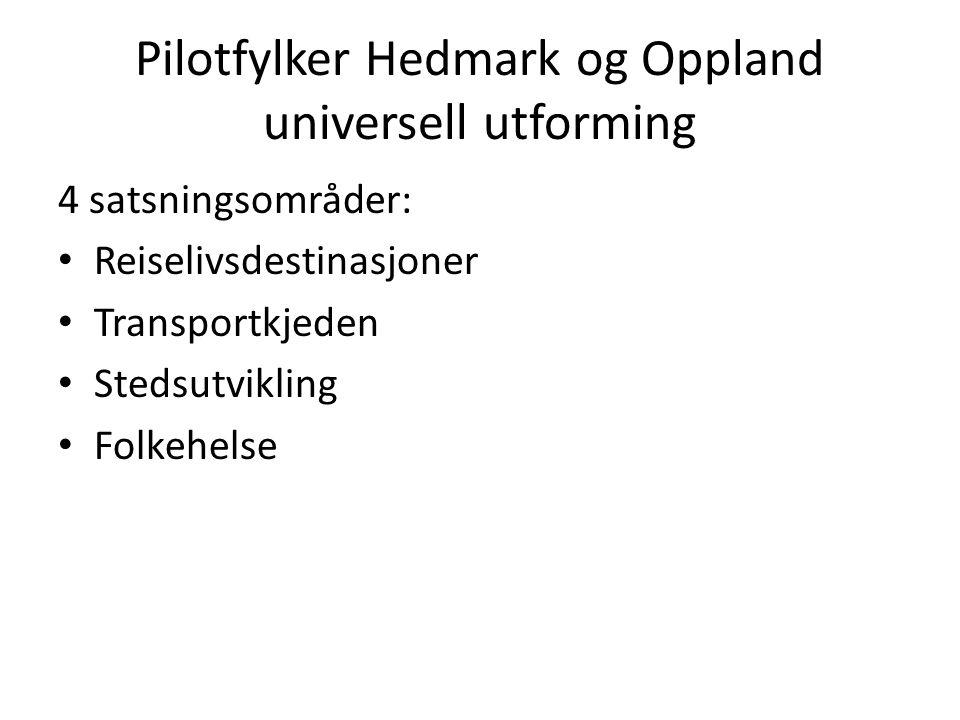 Pilotfylker Hedmark og Oppland universell utforming 4 satsningsområder: • Reiselivsdestinasjoner • Transportkjeden • Stedsutvikling • Folkehelse