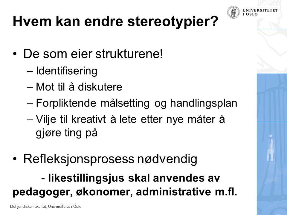 Det juridiske fakultet, Universitetet i Oslo Hvem kan endre stereotypier? •De som eier strukturene! –Identifisering –Mot til å diskutere –Forpliktende