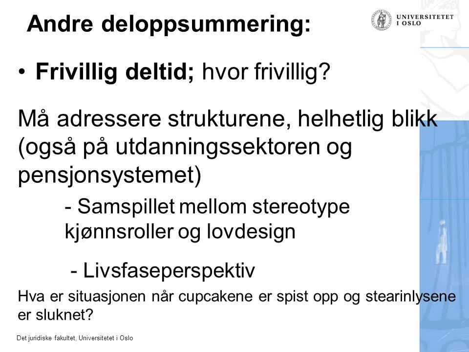 Det juridiske fakultet, Universitetet i Oslo Andre deloppsummering: •Frivillig deltid; hvor frivillig? Må adressere strukturene, helhetlig blikk (også