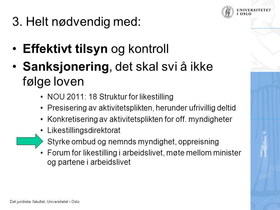 Det juridiske fakultet, Universitetet i Oslo 3. Helt nødvendig med: •Effektivt tilsyn og kontroll •Sanksjonering, det skal svi å ikke følge loven •NOU