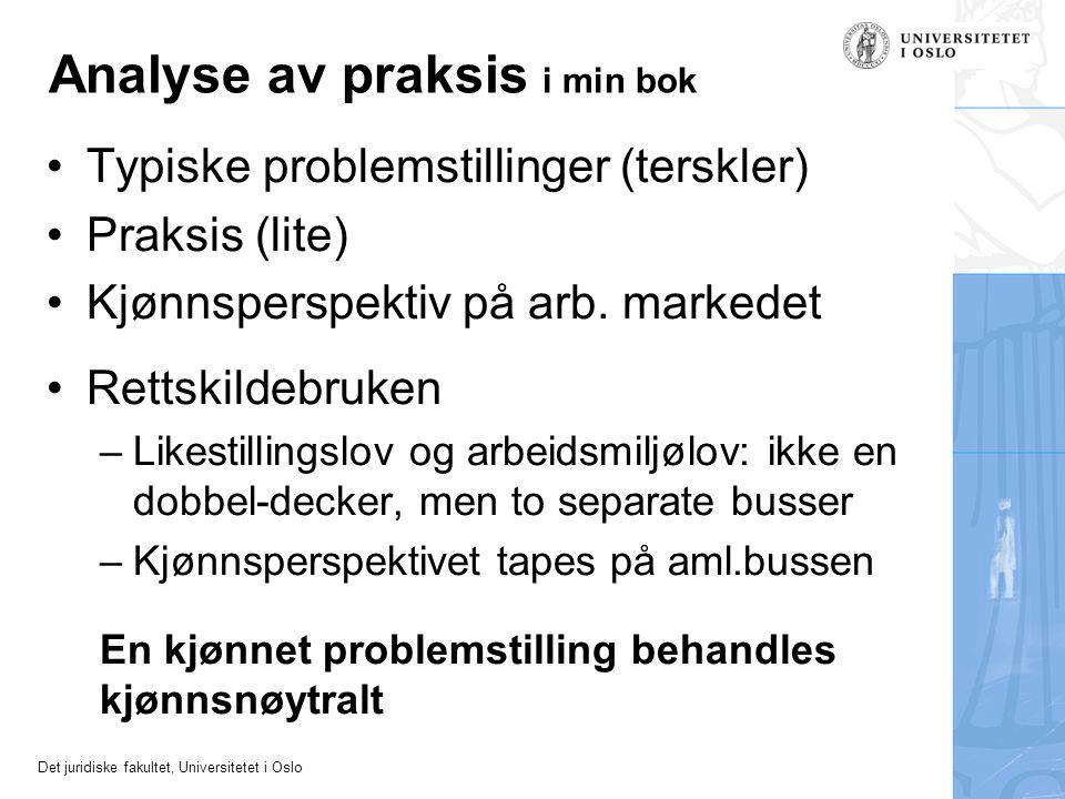 Det juridiske fakultet, Universitetet i Oslo Analyse av praksis i min bok •Typiske problemstillinger (terskler) •Praksis (lite) •Kjønnsperspektiv på a