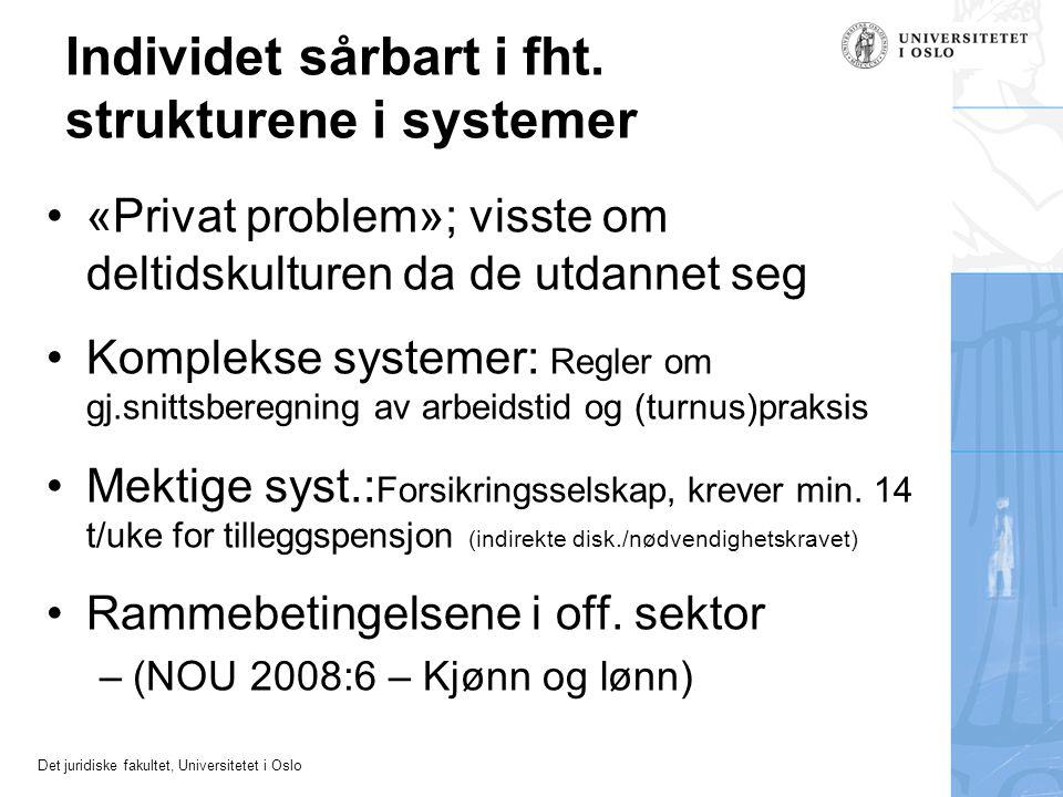 Det juridiske fakultet, Universitetet i Oslo Individet sårbart i fht. strukturene i systemer •«Privat problem»; visste om deltidskulturen da de utdann