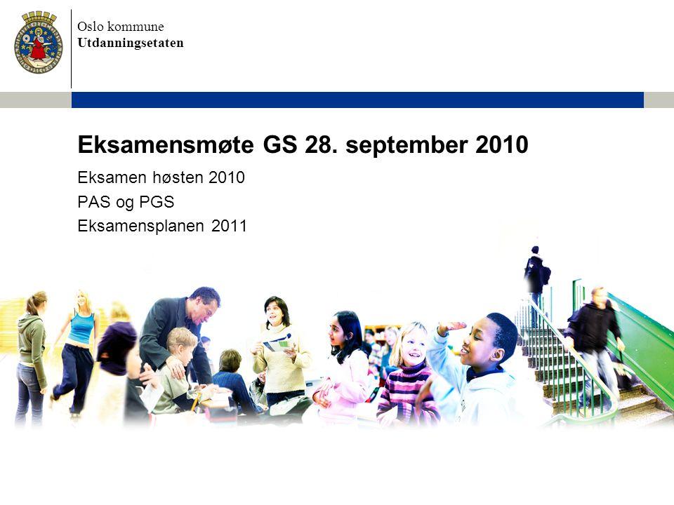Oslo kommune Utdanningsetaten Eksamensmøte GS 28. september 2010 Eksamen høsten 2010 PAS og PGS Eksamensplanen 2011