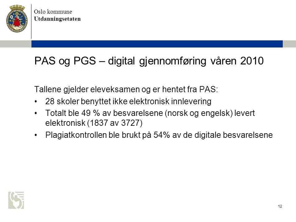 Oslo kommune Utdanningsetaten 12 PAS og PGS – digital gjennomføring våren 2010 Tallene gjelder eleveksamen og er hentet fra PAS: •28 skoler benyttet i
