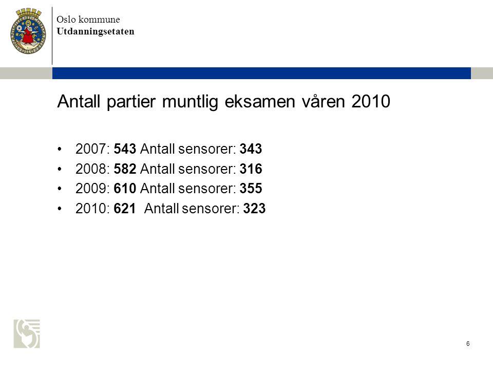 Oslo kommune Utdanningsetaten 6 Antall partier muntlig eksamen våren 2010 •2007: 543 Antall sensorer: 343 •2008: 582 Antall sensorer: 316 •2009: 610 A