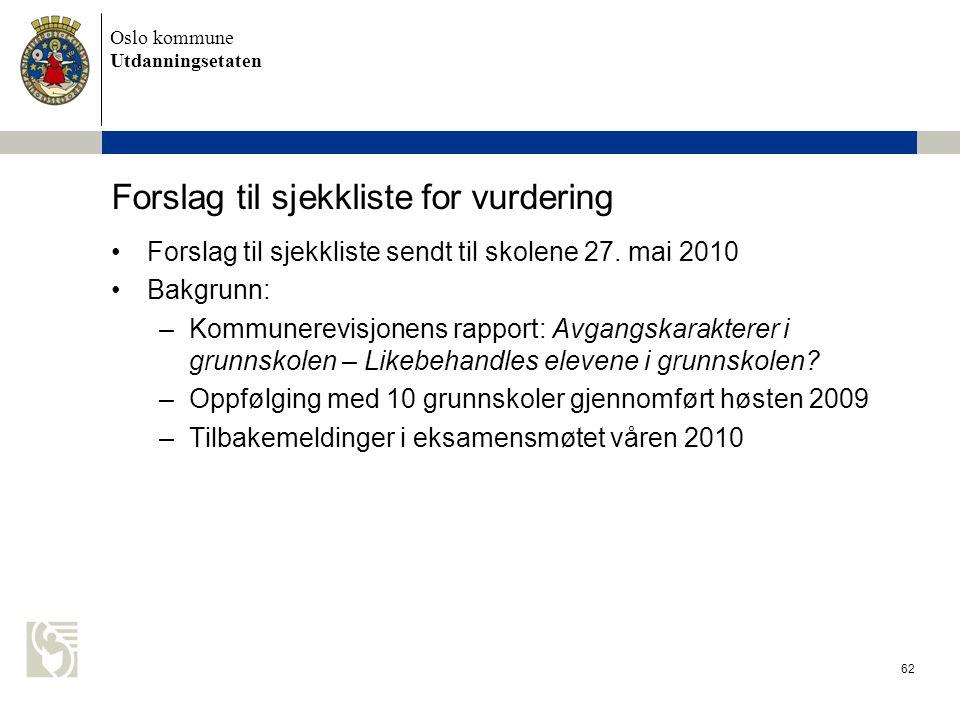 Oslo kommune Utdanningsetaten 62 Forslag til sjekkliste for vurdering •Forslag til sjekkliste sendt til skolene 27. mai 2010 •Bakgrunn: –Kommunerevisj
