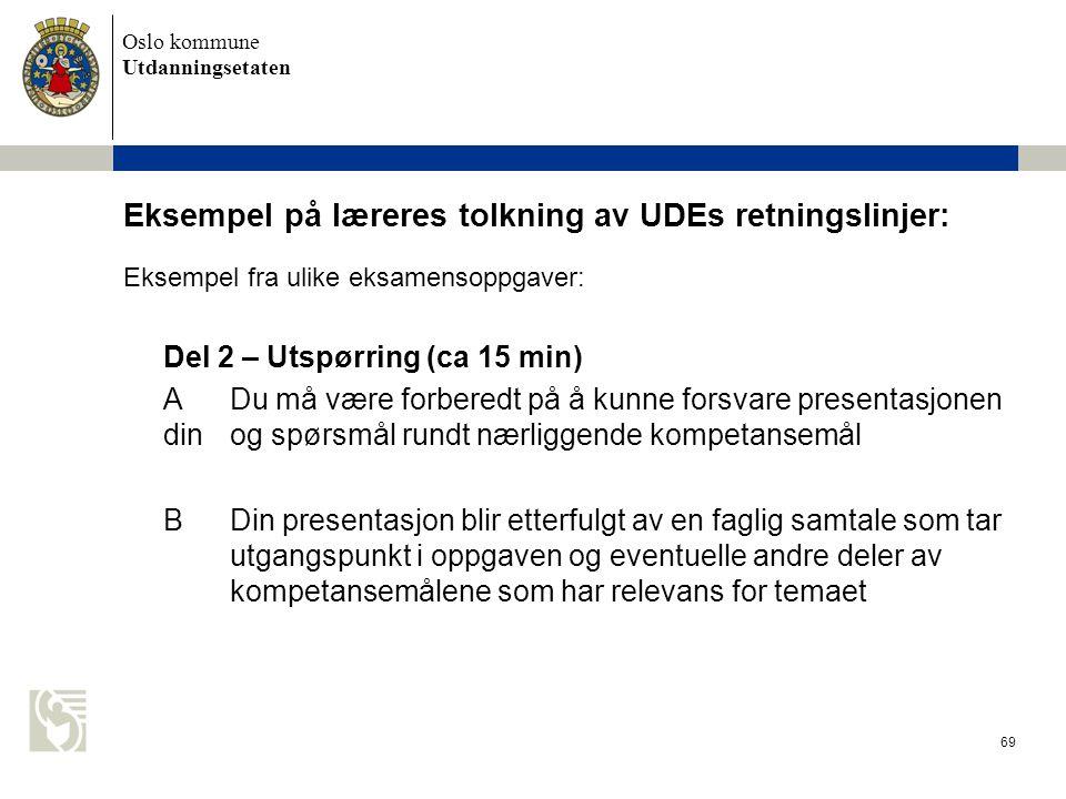 Oslo kommune Utdanningsetaten 69 Eksempel på læreres tolkning av UDEs retningslinjer: Eksempel fra ulike eksamensoppgaver: Del 2 – Utspørring (ca 15 m