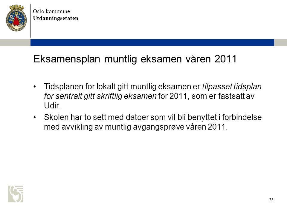 Oslo kommune Utdanningsetaten 78 Eksamensplan muntlig eksamen våren 2011 •Tidsplanen for lokalt gitt muntlig eksamen er tilpasset tidsplan for sentral