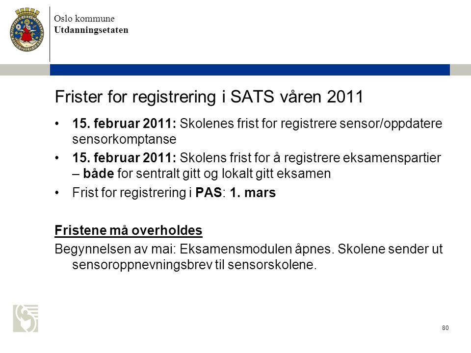 Oslo kommune Utdanningsetaten 80 Frister for registrering i SATS våren 2011 •15. februar 2011: Skolenes frist for registrere sensor/oppdatere sensorko