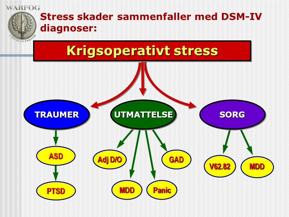 V62.82 MDD ASD PTSD Stress skader sammenfaller med DSM-IV diagnoser: TRAUMERTRAUMERSORGSORGUTMATTELSEUTMATTELSE Krigsoperativt stress GAD Panic Adj D/O MDD