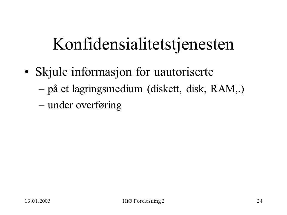 13.01.2003HiØ Forelesning 224 Konfidensialitetstjenesten •Skjule informasjon for uautoriserte –på et lagringsmedium (diskett, disk, RAM,.) –under over