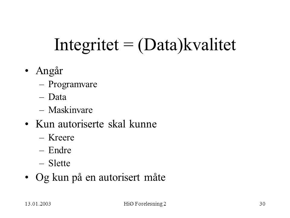 13.01.2003HiØ Forelesning 230 Integritet = (Data)kvalitet •Angår –Programvare –Data –Maskinvare •Kun autoriserte skal kunne –Kreere –Endre –Slette •Og
