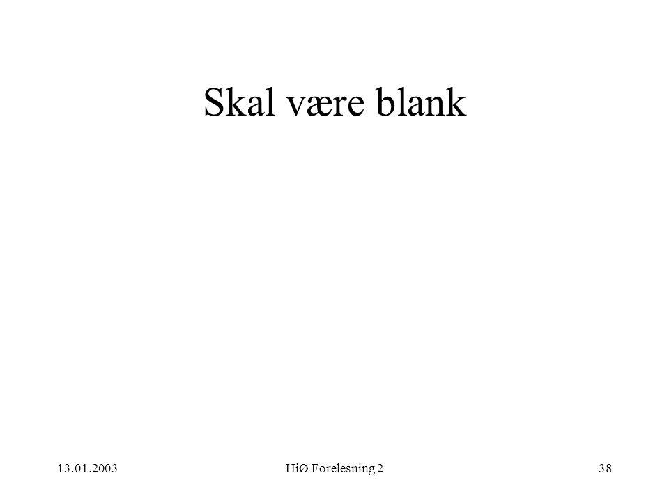 13.01.2003HiØ Forelesning 238 Skal være blank