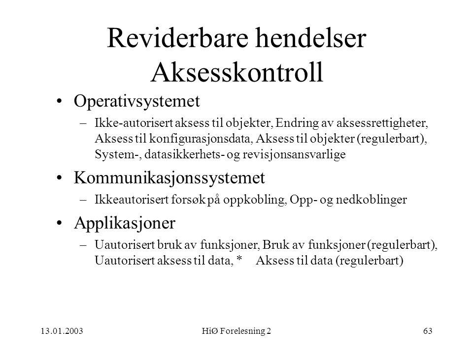 13.01.2003HiØ Forelesning 263 Reviderbare hendelser Aksesskontroll •Operativsystemet –Ikke-autorisert aksess til objekter, Endring av aksessrettighete
