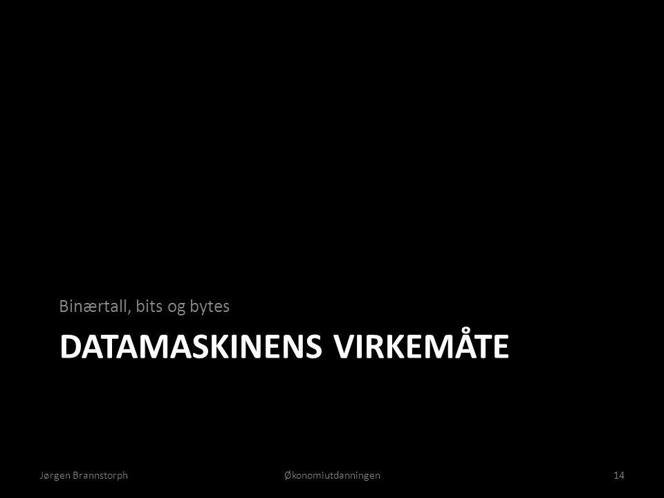 DATAMASKINENS VIRKEMÅTE Binærtall, bits og bytes Jørgen BrannstorphØkonomiutdanningen14