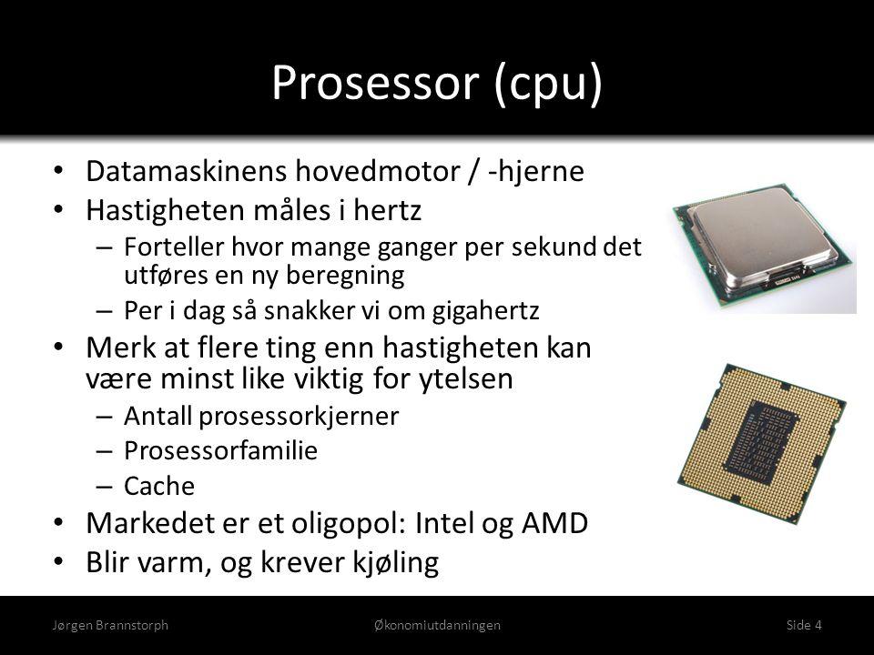 Prosessor (cpu) • Datamaskinens hovedmotor / -hjerne • Hastigheten måles i hertz – Forteller hvor mange ganger per sekund det utføres en ny beregning