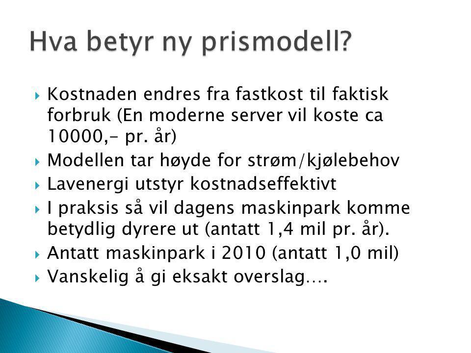  Kostnaden endres fra fastkost til faktisk forbruk (En moderne server vil koste ca 10000,- pr. år)  Modellen tar høyde for strøm/kjølebehov  Lavene