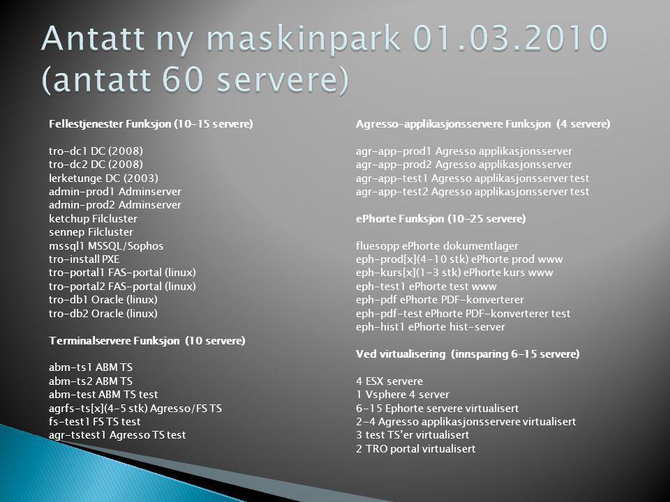 Fellestjenester Funksjon (10-15 servere) tro-dc1 DC (2008) tro-dc2 DC (2008) lerketunge DC (2003) admin-prod1 Adminserver admin-prod2 Adminserver ketc