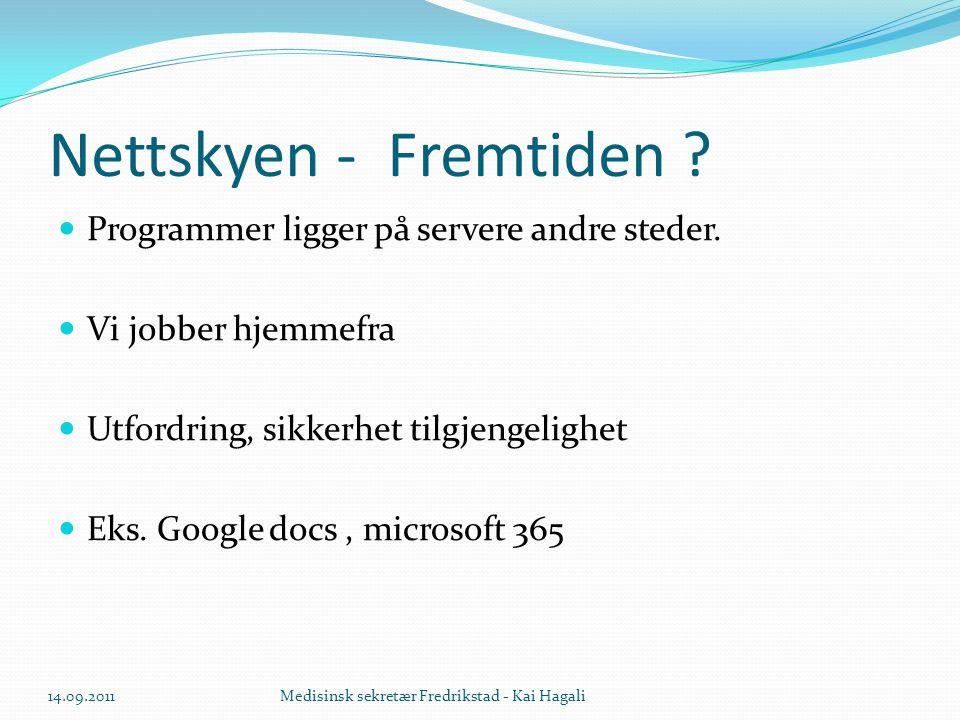 Nettskyen - Fremtiden . Programmer ligger på servere andre steder.