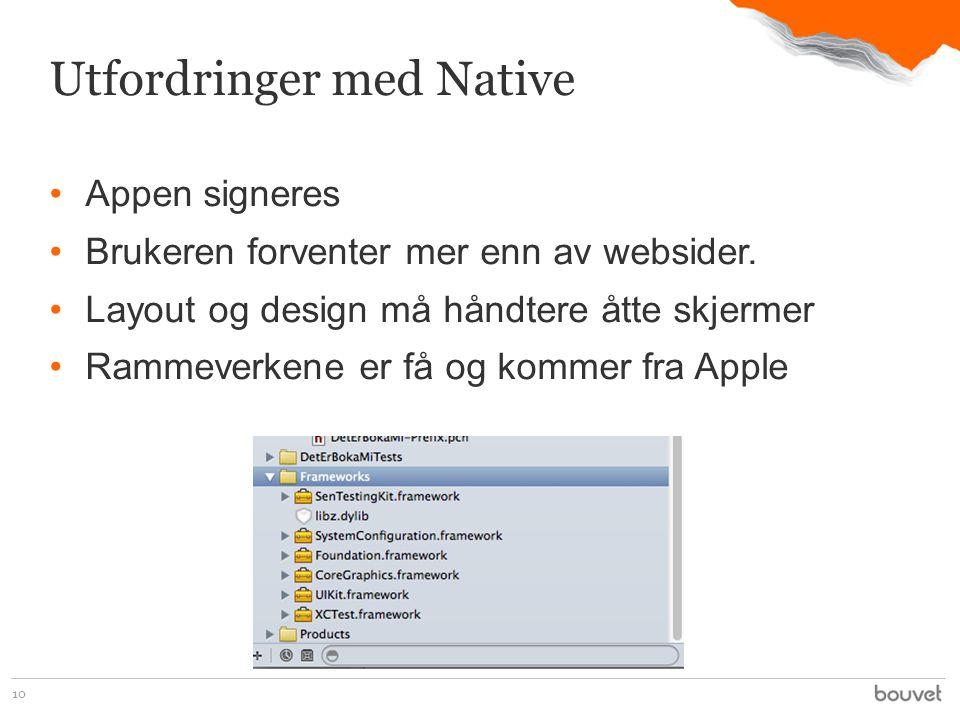•Appen signeres •Brukeren forventer mer enn av websider.