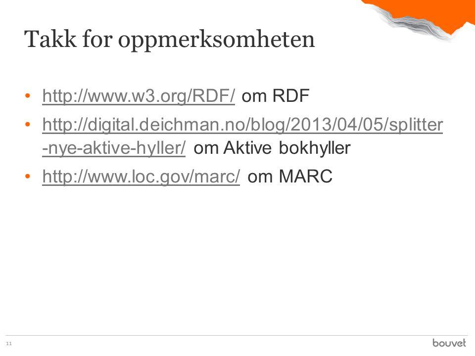 •http://www.w3.org/RDF/ om RDFhttp://www.w3.org/RDF/ •http://digital.deichman.no/blog/2013/04/05/splitter -nye-aktive-hyller/ om Aktive bokhyllerhttp://digital.deichman.no/blog/2013/04/05/splitter -nye-aktive-hyller/ •http://www.loc.gov/marc/ om MARChttp://www.loc.gov/marc/ 11 Takk for oppmerksomheten