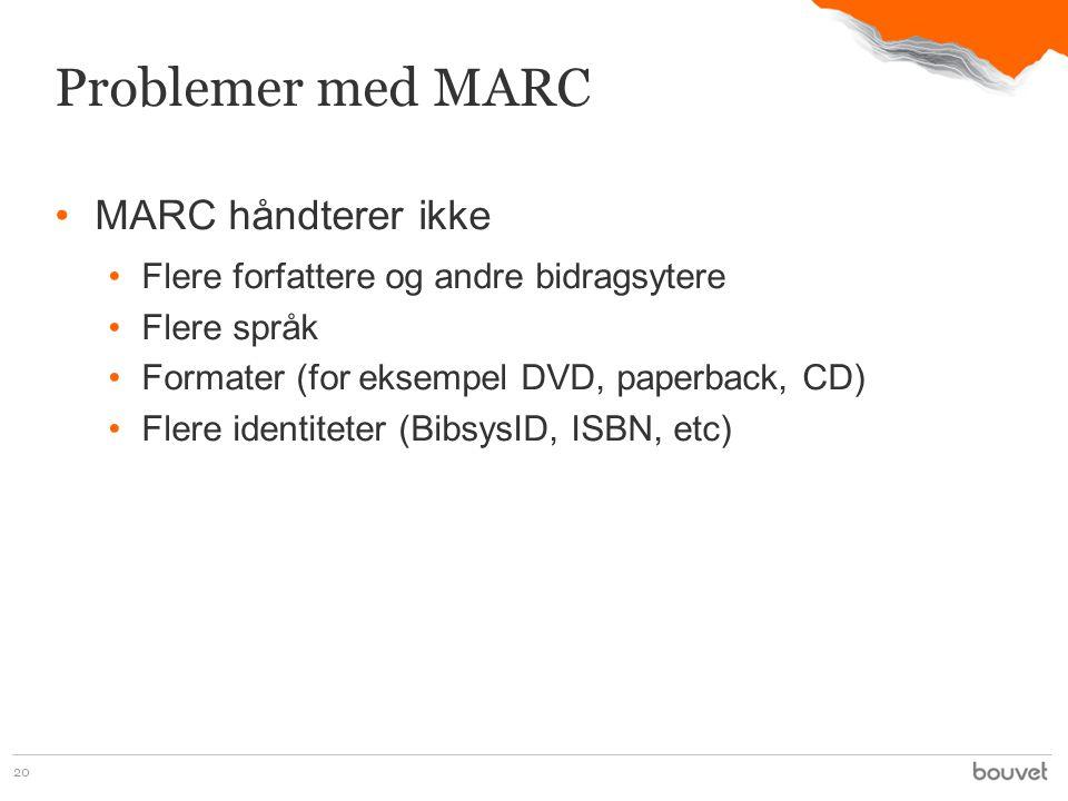 •MARC håndterer ikke •Flere forfattere og andre bidragsytere •Flere språk •Formater (for eksempel DVD, paperback, CD) •Flere identiteter (BibsysID, ISBN, etc) 20 Problemer med MARC