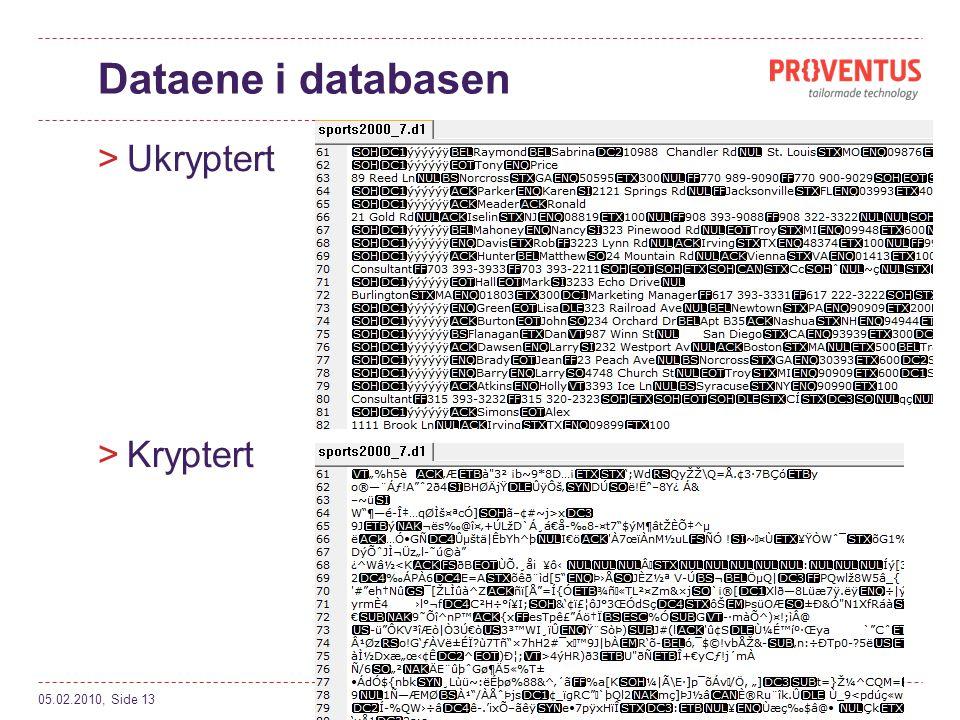 Dataene i databasen >Ukryptert >Kryptert 05.02.2010, Side 13