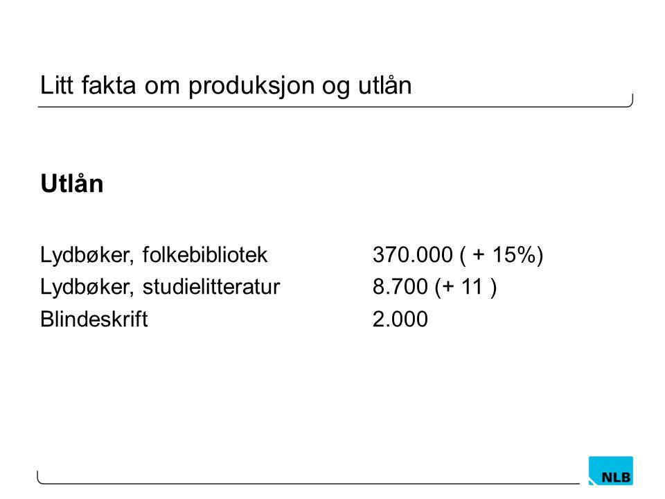 Litt fakta om produksjon og utlån Utlån Lydbøker, folkebibliotek370.000 ( + 15%) Lydbøker, studielitteratur8.700 (+ 11 ) Blindeskrift2.000